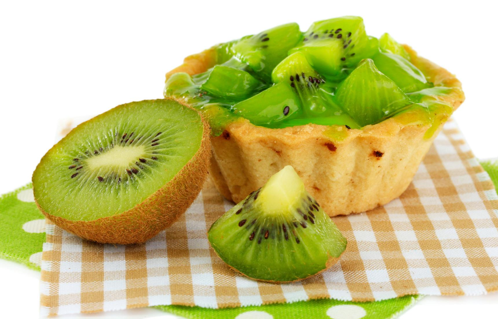 Fruit kiwi cake isolated on white